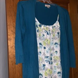Sweater and cami loft large teal